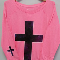 Long Sleeve Shirt - Galaxy Printed Cross