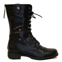 Reneeze Reneeze DY-B1307 Women'S Foldable Lace Up Shaft Back Zipper Flat Heel Mid-Calf Combat Riding Boots