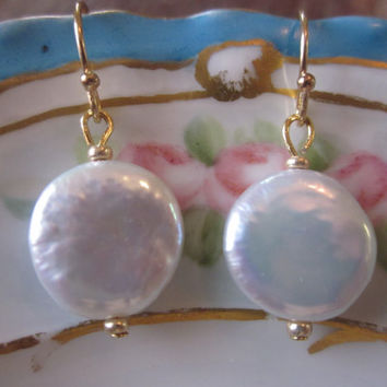 Gold White Freshwater Coin Pearl Earrings - Bridesmaid Earrings - Bridal Earrings - Wedding