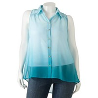 HeartSoul Button-Front Chiffon Top - Juniors' Plus