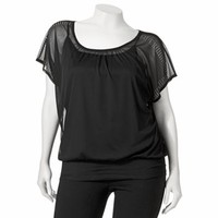 Wrapper Mock-Layer Sheer Studded Top - Juniors