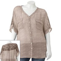 About A Girl Lace Button-Front Top - Juniors' Plus