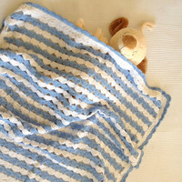 Blue and White Baby Shower-Baby Boy Newborn Square Bamboo Baby Blanket For Spring-26 inch