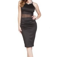 Black Reversible Bodycon Midi Dress with Mesh & Keyhole Deta