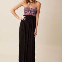 MIRROR EMBROIDERY BUSTIER DRESS