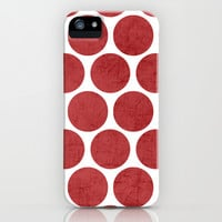 red polka dots iPhone & iPod Case by her art