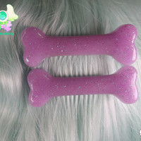 Creepy Cute Bone Hair Clips - Lavender with Glitter