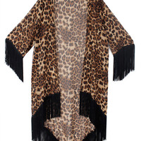 LEOPARD PRINT VINTAGE FRINGED KIMONO JACKET DUSTER ROBE TOP at Miss Dandy | Miss Dandy