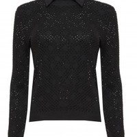 alice + olivia | MIRA RHINESTONE CREWNECK WITH COLLAR