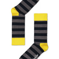 Stripe cool socks with yellow toe/top for fun people at HappySocks.com