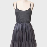 Just A Crush Tulle Slipdress In Charcoal