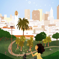 "San Francisco Art, Dolores Park Art, California, Wall Decor, Cityscape - ""Simple Pleasures"" - Art Print 13x19"
