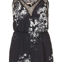 **FLORAL PRINTED LACE TRIM PLAYSUIT BY OH MY LOVE