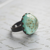 Real Flower Ring Resin Jewelry 02 Turquoise by NaturalPrettyThings
