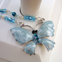 Blue necklace green necklace teal necklace blue teal green butterfly necklace Austrian crystals