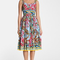 Dolce&Gabbana Bougainvillea Print Pleated Dress | Nordstrom