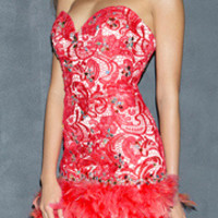 (PRE-ORDER) Night Moves by Allure 2014 Prom: Pink Lace & Feathers Strapless Short Prom Dress