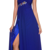 2014 Homecoming Dresses - Royal Blue Chiffon & Beaded One Shoulder Long Dress