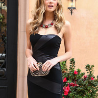 LEATHER BOUND STRAPLESS DRESS