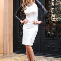 LEATHER RAGLAN SLEEVE MIDI DRESS
