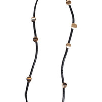 WOMEN BLACK LEATHERETTE CORD LEATHER GOLD NECKLACE JEWELRY at Miss Dandy | Miss Dandy