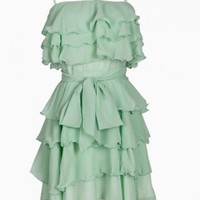 Mint Green Ruffle Layered Dress