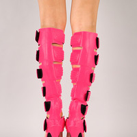 Privileged Get-HI Neon Quilted Gladiator Knee High Stiletto Heel