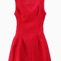 Red Pleated Bodice Sleeveless Flare Dress