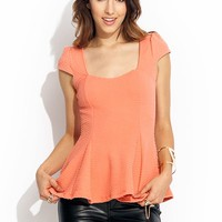 Textured-Cap-Sleeve-Peplum-Top CORAL WHITE - GoJane.com