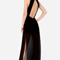 Dazzling with the Stars Beaded Black Maxi Dress