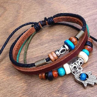 Leather Bracelet 013: Hamsa bracelet