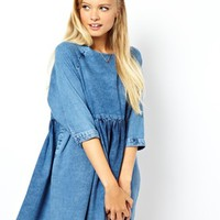 ASOS Denim Smock Dress in Mid Wash