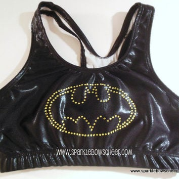 Batty Rhinestone Super Hero Metallic Sports Bra Cheerleading, Yoga, Running, Working Out
