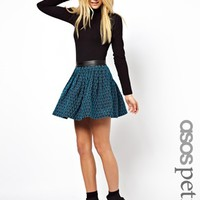 ASOS PETITE Exclusive Skater Skirt with Leather Look Waistband