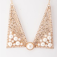 Pearls of Wisdom Collar Necklace Set - Gold