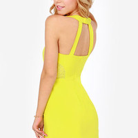 Aryn K Electric Current Chartreuse Yellow Dress