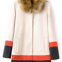 ROMWE | Romwe Color Block Detachable Collar Coat, The Latest Street Fashion