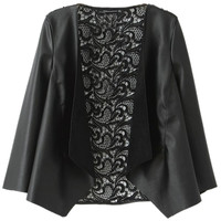 ROMWE | ROMWE Hollowed Lace Back Opening PU Coat, The Latest Street Fashion