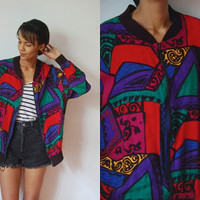 Vtg Colorful Abstract Print Zip Up Light Jacket w Pockets