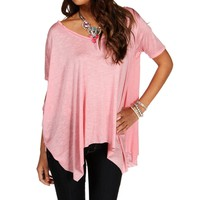 Rose Shark Hem Top
