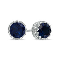 6.0mm Lab-Created Sapphire Crown Earrings in Sterling Silver