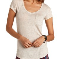 RHINESTONE POCKET KNIT TEE