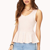 Sweet Textured Peplum Top