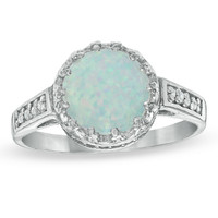 8.0mm Lab-Created Opal and White Topaz Crown Ring in Sterling Silver