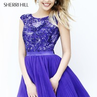 Sheer Boat Neckline Dress by Sherri Hill