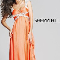 Elegant Jeweled Empire Waist Evening Gown by Sherrie Hill