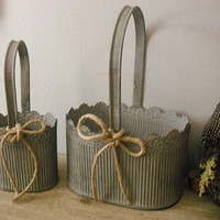 2 Galvanized Metal French Country BASKETS .. Rustic wedding .. cottage decor