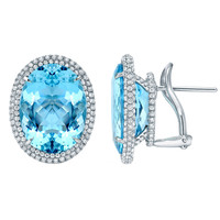 TAMIR Marvelous Aquamarine And Micro-Set Diamond Earrings
