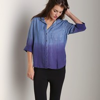Bella Dahl Shirttail Button Down Iris Dip Dyed B2765-534 at Largo Drive Underwear & Swimwear