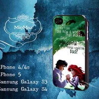 Ariel the Little Mermaid Quotes Design for iPhone 4, iPhone 4S, iPhone 5, Samsung Galaxy S3, Samsung Galaxy S4 Case